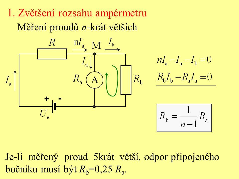 A + - 1. Zvětšení rozsahu ampérmetru Měření proudů n-krát větších Je-li měřený proud 5krát větší, odpor připojeného bočníku musí být R b =0,25 R a.