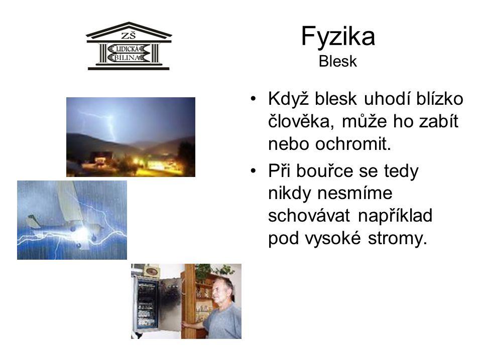 Fyzika Blesk Když blesk uhodí blízko člověka, může ho zabít nebo ochromit. Při bouřce se tedy nikdy nesmíme schovávat například pod vysoké stromy.