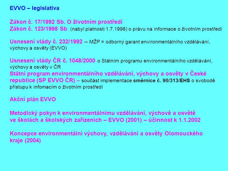 EVVO – legislativa Zákon č. 17/1992 Sb. O životním prostředí Zákon č. 123/1998 Sb. (nabyl platnosti 1.7.1998) o právu na informace o životním prostřed