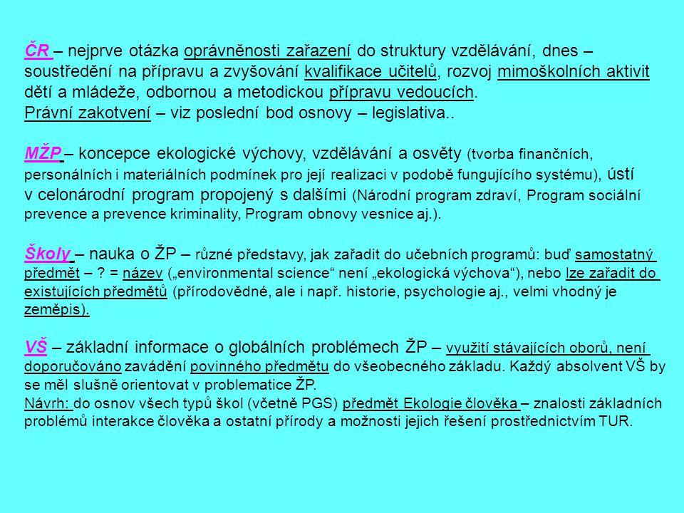 ČR – nejprve otázka oprávněnosti zařazení do struktury vzdělávání, dnes – soustředění na přípravu a zvyšování kvalifikace učitelů, rozvoj mimoškolních