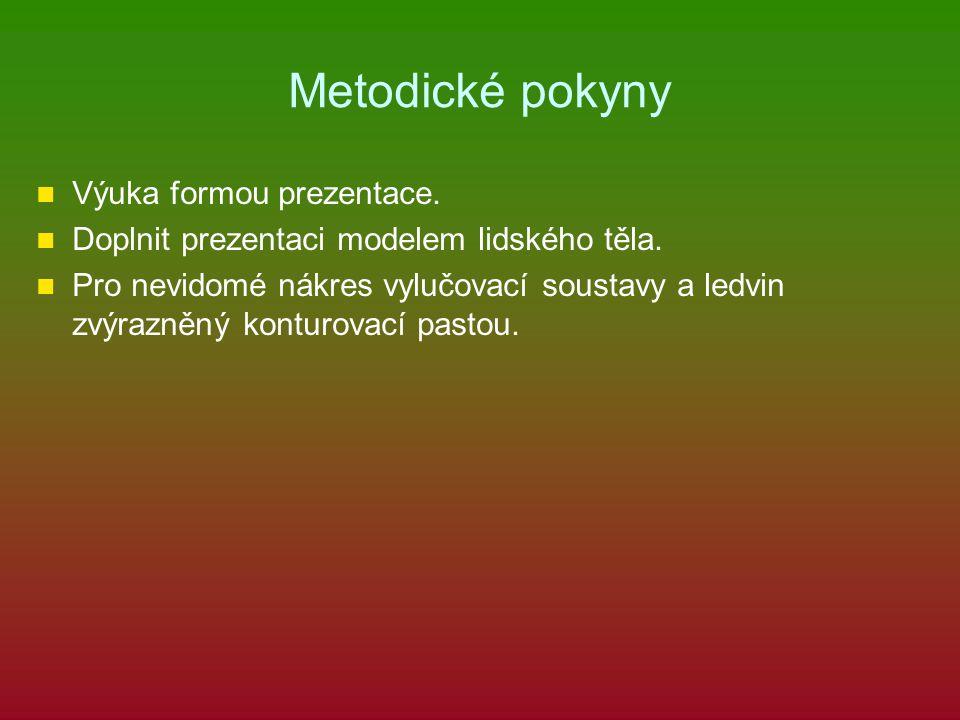 Metodické pokyny Výuka formou prezentace.Doplnit prezentaci modelem lidského těla.