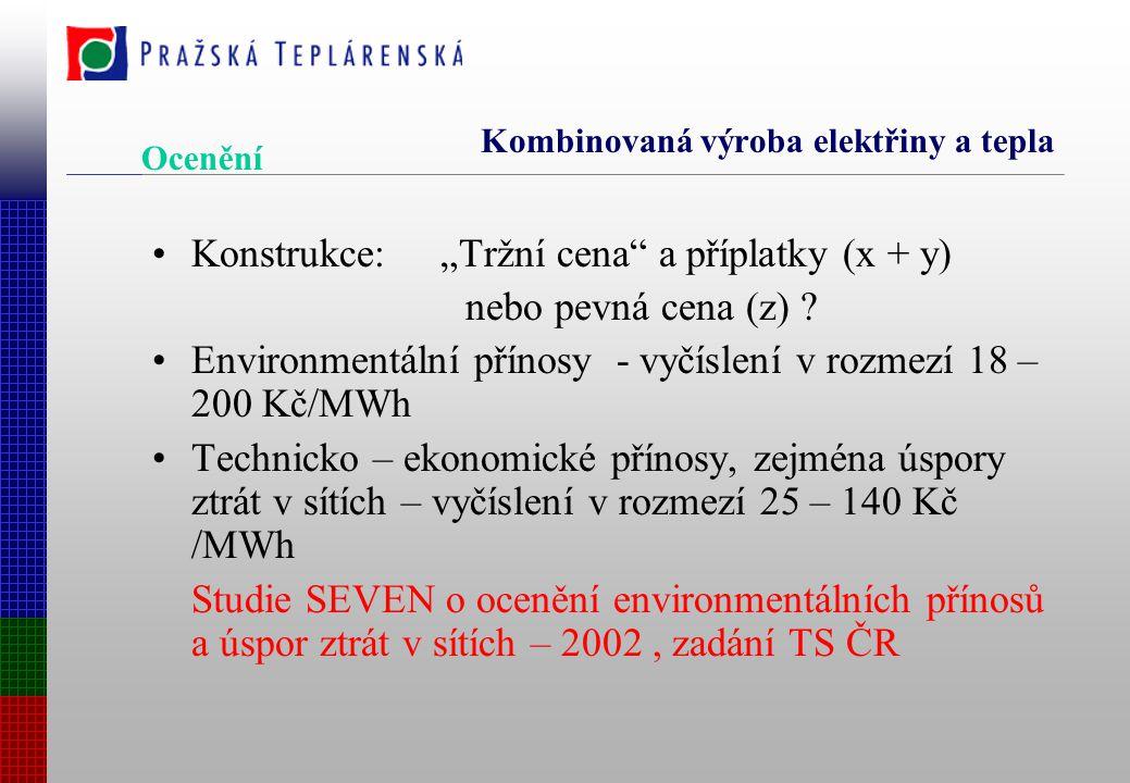 """Kombinovaná výroba elektřiny a tepla Konstrukce: """"Tržní cena a příplatky (x + y) nebo pevná cena (z) ."""