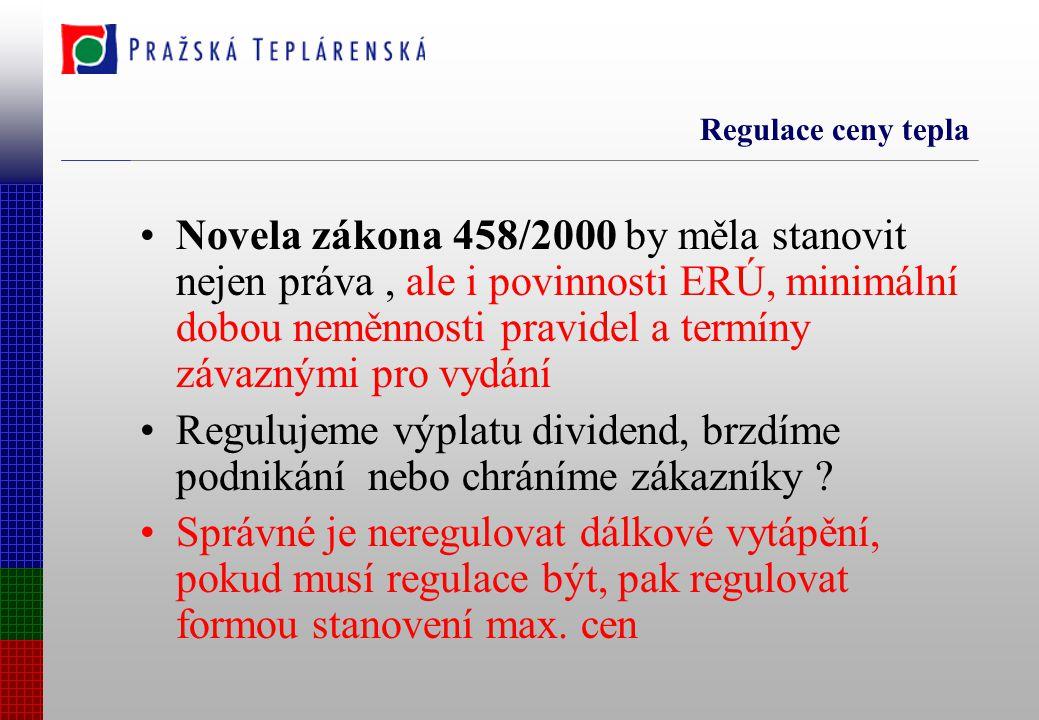 Novela zákona 458/2000 by měla stanovit nejen práva, ale i povinnosti ERÚ, minimální dobou neměnnosti pravidel a termíny závaznými pro vydání Regulujeme výplatu dividend, brzdíme podnikání nebo chráníme zákazníky .