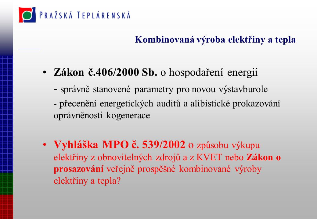 Perspektivy Směrnice evropského parlamentu a rady o prosazování kombinované výroby elektřiny a tepla založené na potřebě užitného tepla na vnitřním trhu s elektrickou energií – hranice 50 MW, účinnost 80%, elektřina pro zemědělství, certifikační projekty v SRN – společné dílo Euroheat&Power, Euroelectric a Cogen Europe Německý teplárenský zákon z dubna 2002 a směrnice č.308 vypracovaná AGFW Finské Protermo EU