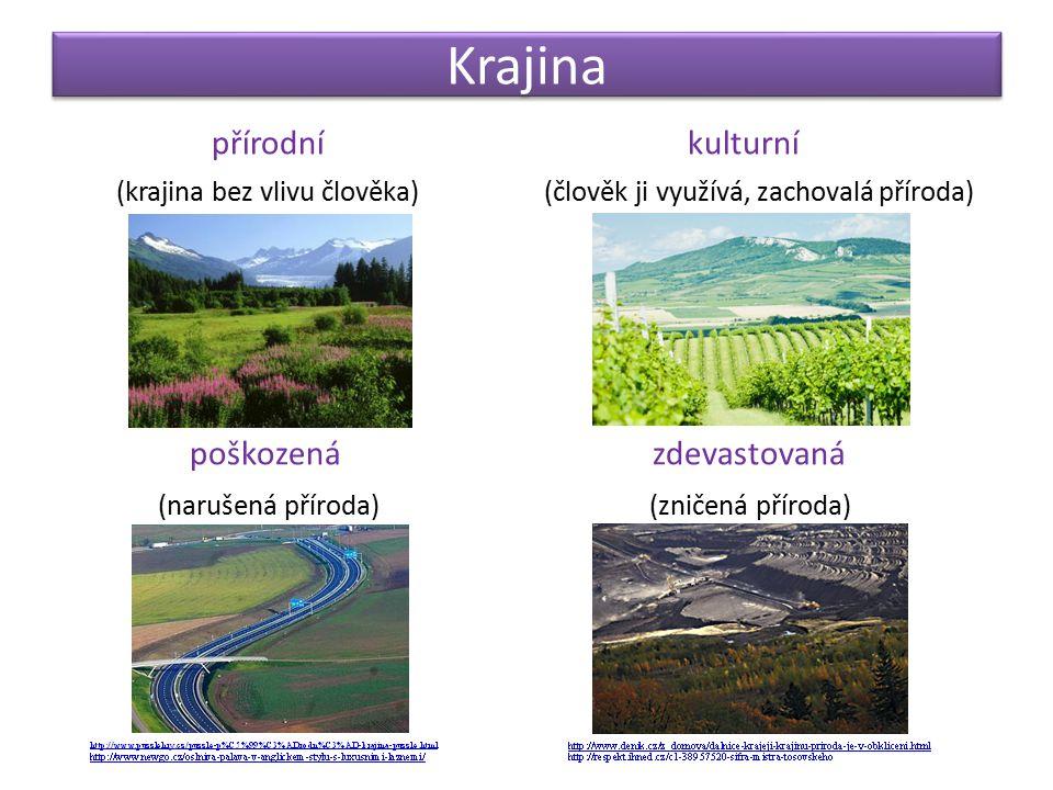 Krajina přírodní kulturní (krajina bez vlivu člověka) (člověk ji využívá, zachovalá příroda) poškozená zdevastovaná (narušená příroda) (zničená přírod