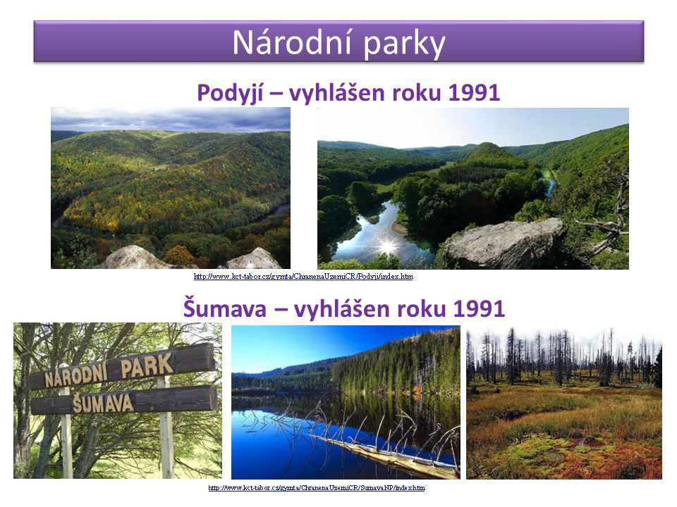 Národní parky Podyjí – vyhlášen roku 1991 Šumava – vyhlášen roku 1991