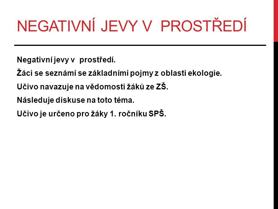 NEGATIVNÍ JEVY V PROSTŘEDÍ Negativní jevy v prostředí.