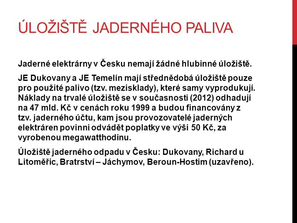 ÚLOŽIŠTĚ JADERNÉHO PALIVA Jaderné elektrárny v Česku nemají žádné hlubinné úložiště. JE Dukovany a JE Temelín mají střednědobá úložiště pouze pro použ