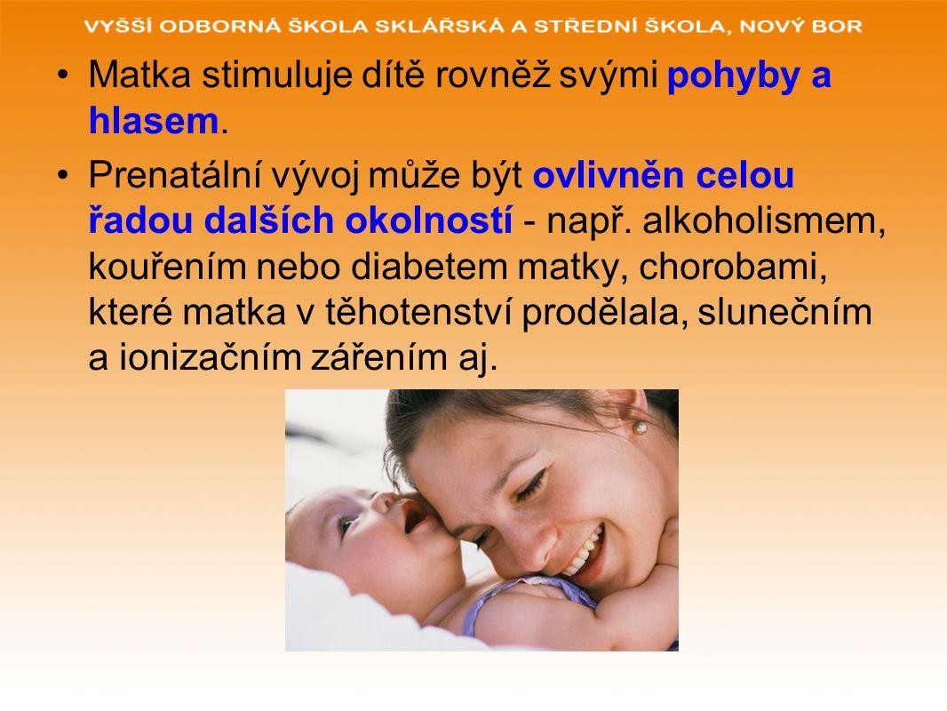 Matka stimuluje dítě rovněž svými pohyby a hlasem.