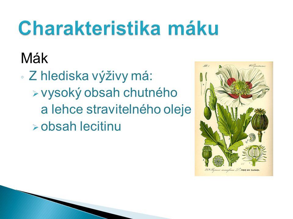 Mák ◦ Z hlediska výživy má:  vysoký obsah chutného a lehce stravitelného oleje  obsah lecitinu