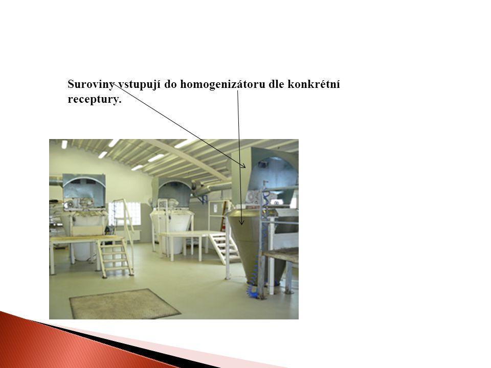 Suroviny vstupují do homogenizátoru dle konkrétní receptury.