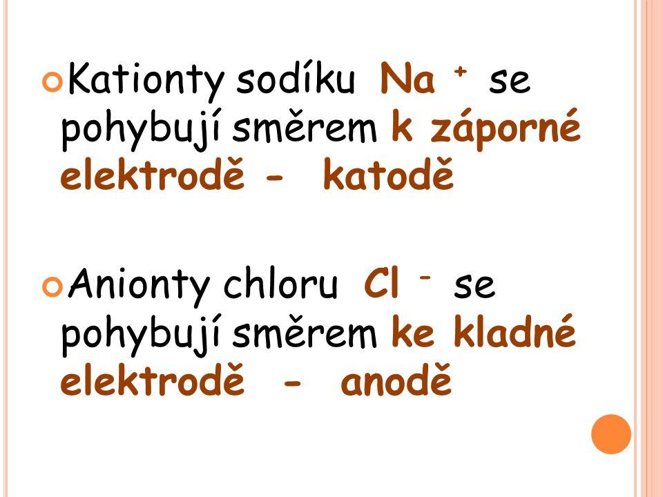 Kationty sodíku Na + se pohybují směrem k záporné elektrodě - katodě Anionty chloru Cl - se pohybují směrem ke kladné elektrodě - anodě