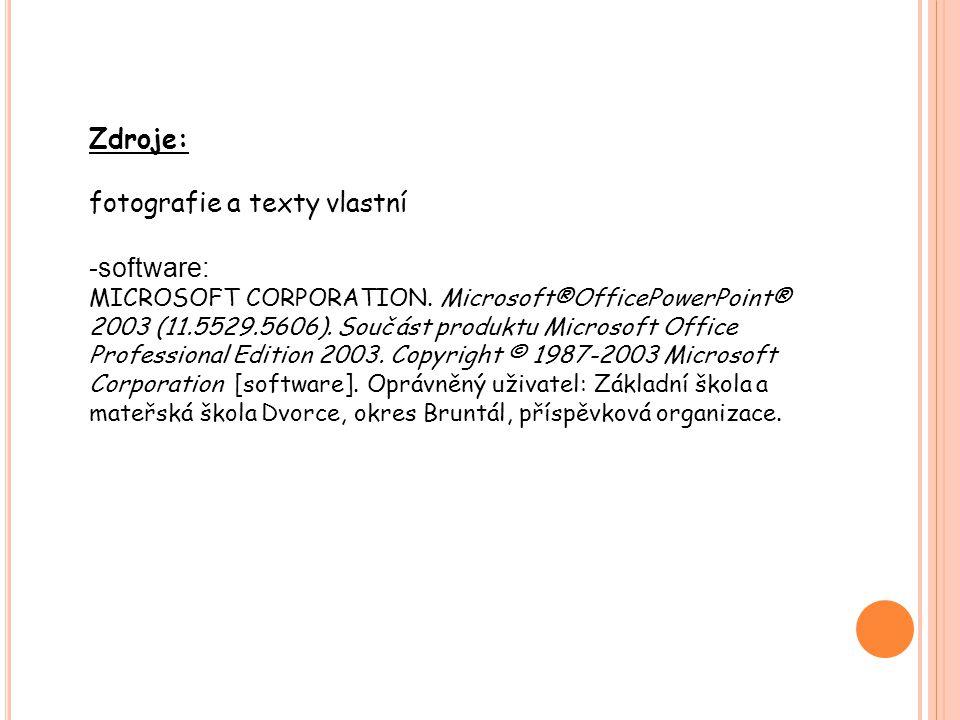 Zdroje: fotografie a texty vlastní -software: MICROSOFT CORPORATION.
