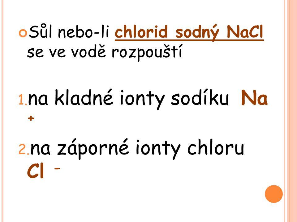 Sůl nebo-li chlorid sodný NaCl se ve vodě rozpouští 1.