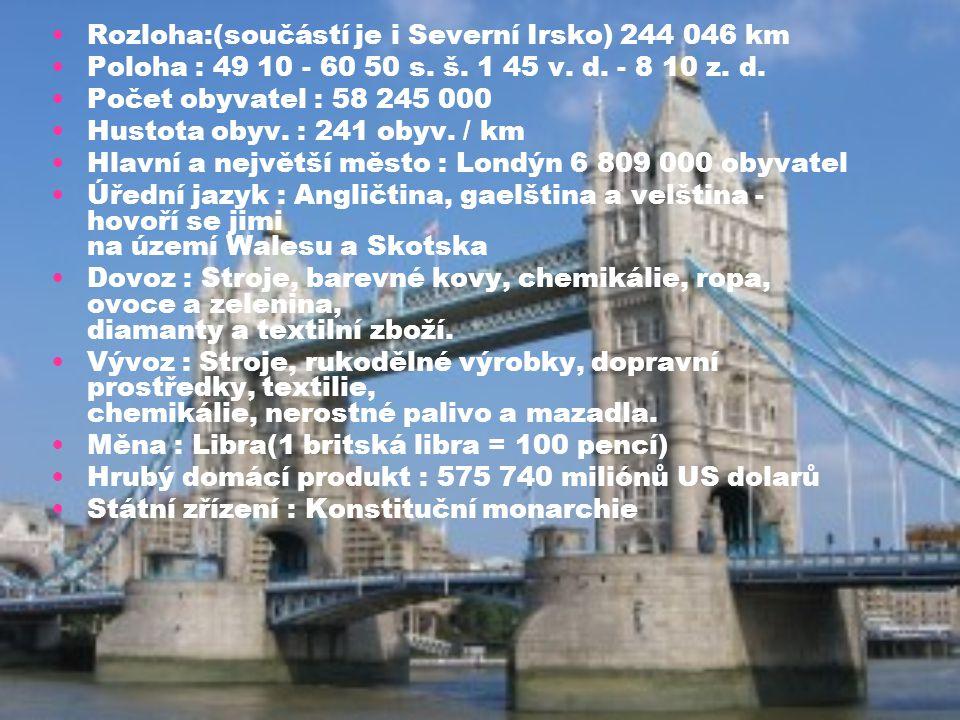 Rozloha:(součástí je i Severní Irsko) 244 046 km Poloha : 49 10 - 60 50 s. š. 1 45 v. d. - 8 10 z. d. Počet obyvatel : 58 245 000 Hustota obyv. : 241