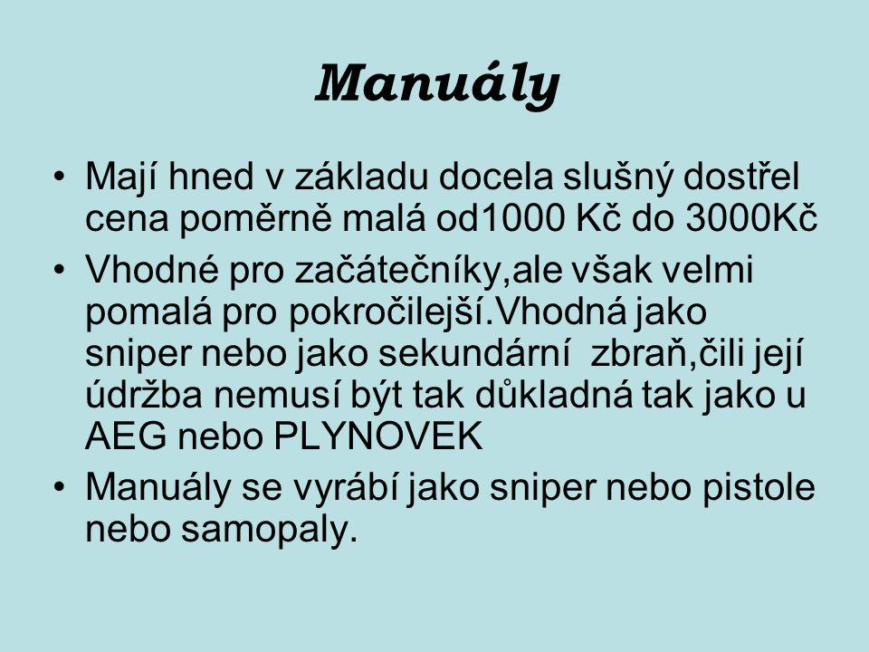 Manuály Mají hned v základu docela slušný dostřel cena poměrně malá od1000 Kč do 3000Kč Vhodné pro začátečníky,ale však velmi pomalá pro pokročilejší.Vhodná jako sniper nebo jako sekundární zbraň,čili její údržba nemusí být tak důkladná tak jako u AEG nebo PLYNOVEK Manuály se vyrábí jako sniper nebo pistole nebo samopaly.