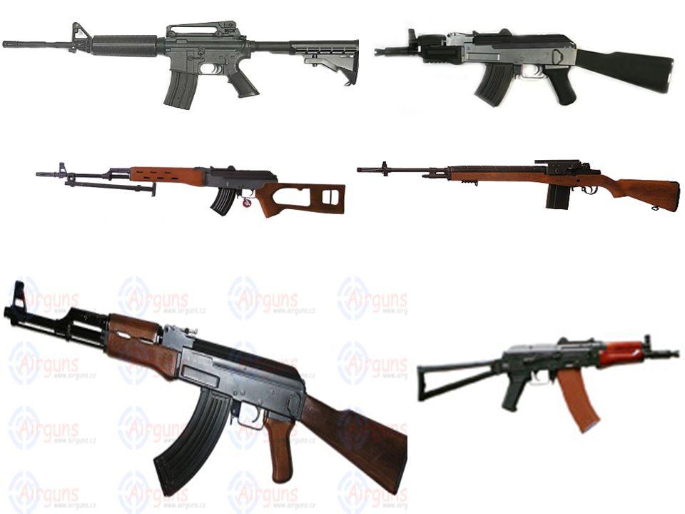 Elektrické zbraně Jsou asi nejhojnější skupinou a taky nejprodávanější skupinou přezdívané jako AEG Jsou poháněny elektrickým motorem a motor pohání akumulátory které můžou být budˇ Nimh nebo Nicd Vhodné pro pokročilé,dva režimy střelby AUTO a SEMI jejich cena se pohybuje od 3000Kč do 50000 ovšem tyto zbraně jsou z vysokou zaručenou kvalitou –záleží na výrobci!