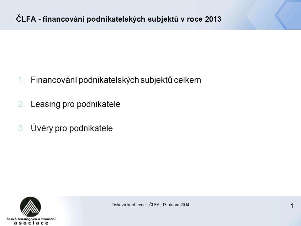 2 ČLFA - financování podnikatelských subjektů v roce 2013 Celkové financování podnikatelských subjektů v roce 2013 (statistiky ČLFA)  leasing + úvěry (celkový trh, vstupní dluh) 72 mld.