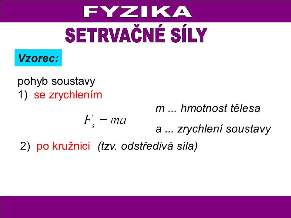 FYZIKA pohyb soustavy 1)se zrychlením Vzorec: m... hmotnost tělesa a... zrychlení soustavy 2)po kružnici(tzv. odstředivá síla)