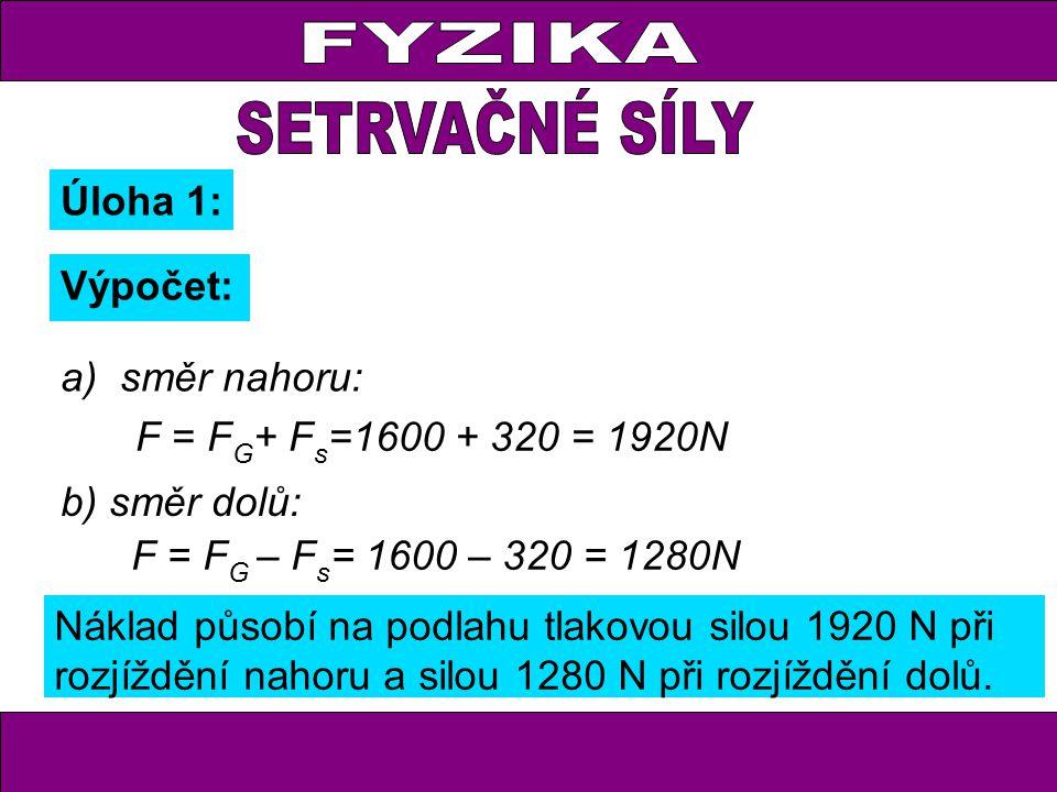 FYZIKA Úloha 1: Výpočet: F = F G + F s =1600 + 320 = 1920N F = F G – F s = 1600 – 320 = 1280N Náklad působí na podlahu tlakovou silou 1920 N při rozjíždění nahoru a silou 1280 N při rozjíždění dolů.