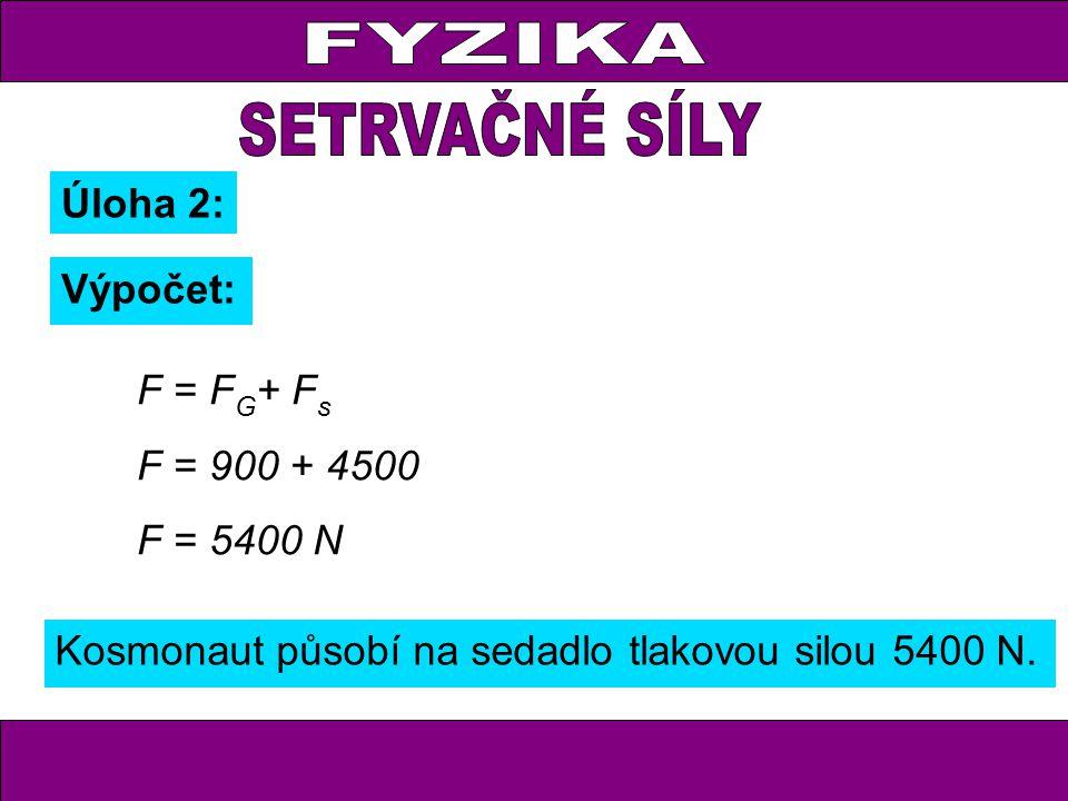 FYZIKA Úloha 2: Výpočet: F = F G + F s F = 900 + 4500 F = 5400 N Kosmonaut působí na sedadlo tlakovou silou 5400 N.