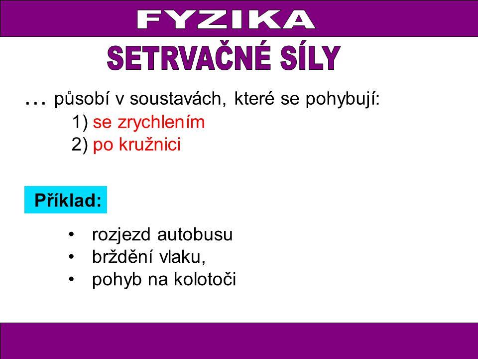 FYZIKA … působí v soustavách, které se pohybují: 1) se zrychlením 2) po kružnici rozjezd autobusu brždění vlaku, pohyb na kolotoči Příklad: