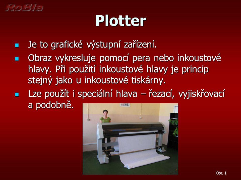 Plotter Je to grafické výstupní zařízení. Je to grafické výstupní zařízení. Obraz vykresluje pomocí pera nebo inkoustové hlavy. Při použití inkoustové