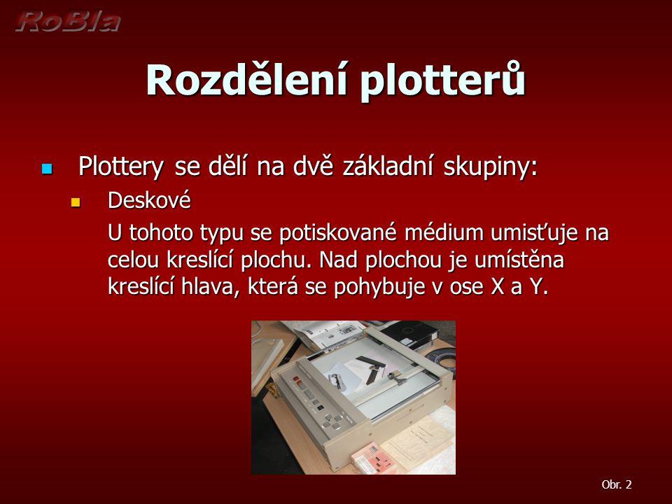 Rozdělení plotterů Plottery se dělí na dvě základní skupiny: Plottery se dělí na dvě základní skupiny: Deskové Deskové U tohoto typu se potiskované mé