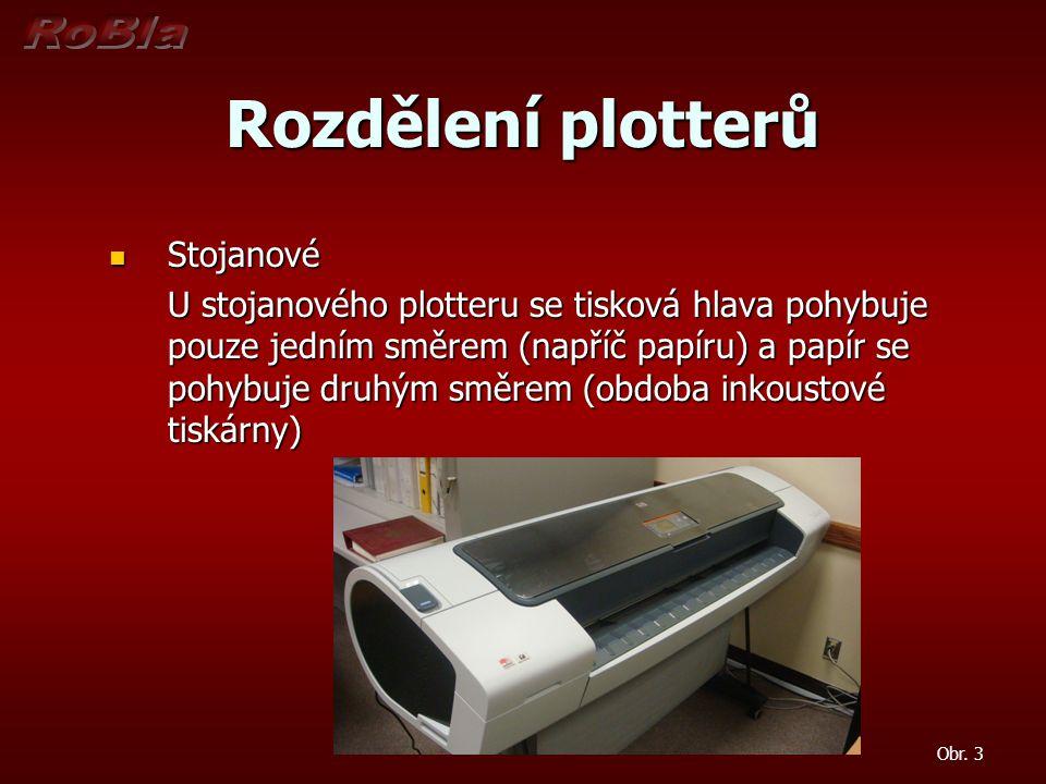 Rozdělení plotterů Stojanové Stojanové U stojanového plotteru se tisková hlava pohybuje pouze jedním směrem (napříč papíru) a papír se pohybuje druhým