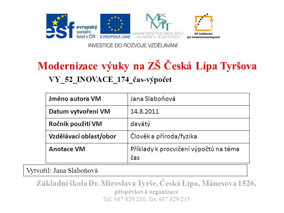 Modernizace výuky na ZŠ Česká Lípa Tyršova VY_52_INOVACE_174_čas-výpočet Vytvořil: Jana Slaboňová Základní škola Dr.