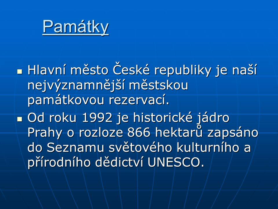 Památky Hlavní město České republiky je naší nejvýznamnější městskou památkovou rezervací. Hlavní město České republiky je naší nejvýznamnější městsko