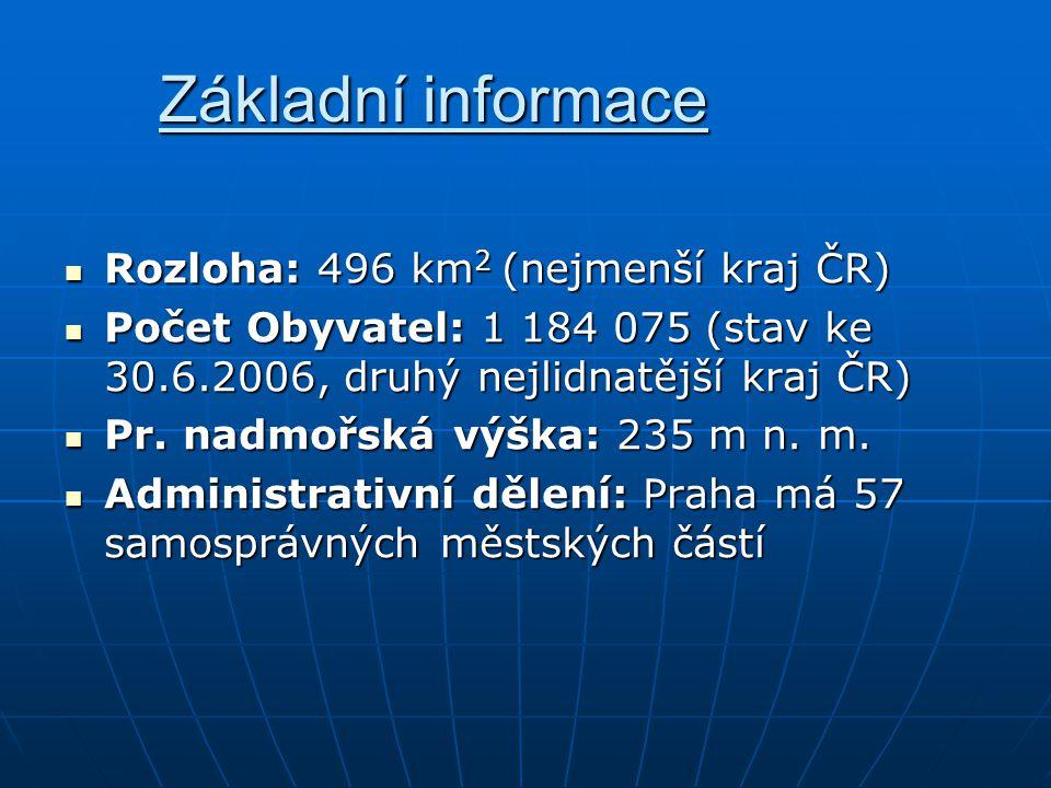 Základní informace Rozloha: 496 km 2 (nejmenší kraj ČR) Rozloha: 496 km 2 (nejmenší kraj ČR) Počet Obyvatel: 1 184 075 (stav ke 30.6.2006, druhý nejli