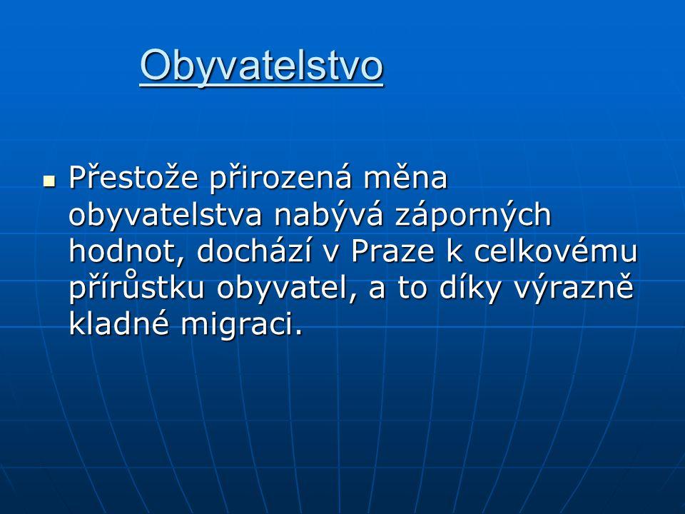 Obyvatelstvo Přestože přirozená měna obyvatelstva nabývá záporných hodnot, dochází v Praze k celkovému přírůstku obyvatel, a to díky výrazně kladné mi