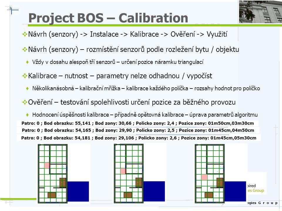 Nature Inspired Technologies G r o u p Project BOS – Calibration  Návrh (senzory) -> Instalace -> Kalibrace -> Ověření -> Využití  Návrh (senzory) – rozmístění senzorů podle rozležení bytu / objektu  Vždy v dosahu alespoň tří senzorů – určení pozice náramku triangulací  Kalibrace – nutnost – parametry nelze odhadnou / vypočíst  Několikanásobná – kalibrační mřížka – kalibrace každého políčka – rozsahy hodnot pro políčko  Ověření – testování spolehlivosti určení pozice za běžného provozu  Hodnocení úspěšnosti kalibrace – případně opětovná kalibrace – úprava parametrů algoritmu