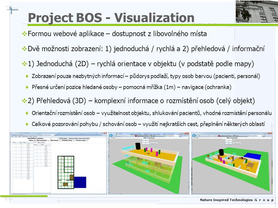 Nature Inspired Technologies G r o u p Project BOS - Visualization  Formou webové aplikace – dostupnost z libovolného místa  Dvě možnosti zobrazení: 1) jednoduchá / rychlá a 2) přehledová / informační  1) Jednoduchá (2D) – rychlá orientace v objektu (v podstatě podle mapy)  Zobrazení pouze nezbytných informací – půdorys podlaží, typy osob barvou (pacienti, personál)  Přesné určení pozice hledané osoby – pomocná mřížka (1m) – navigace (ochranka)  2) Přehledová (3D) – komplexní informace o rozmístění osob (celý objekt)  Orientační rozmístění osob – využitelnost objektu, shlukování pacientů, vhodné rozmístění personálu  Celkové pozorování pohybu / schování osob – využití nejkratších cest, přeplnění některých oblastí