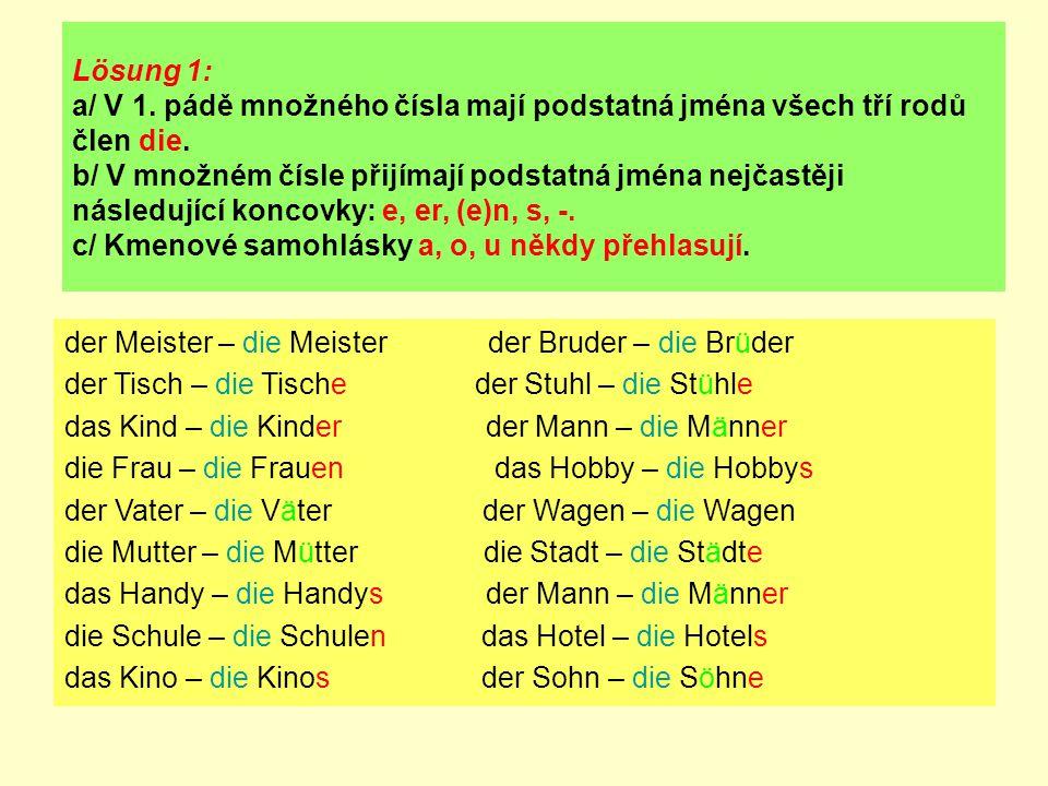 Lösung 1: a/ V 1. pádě množného čísla mají podstatná jména všech tří rodů člen die. b/ V množném čísle přijímají podstatná jména nejčastěji následujíc