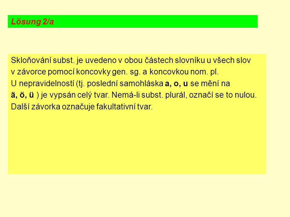 Skloňování subst. je uvedeno v obou částech slovníku u všech slov v závorce pomocí koncovky gen. sg. a koncovkou nom. pl. U nepravidelností (tj. posle