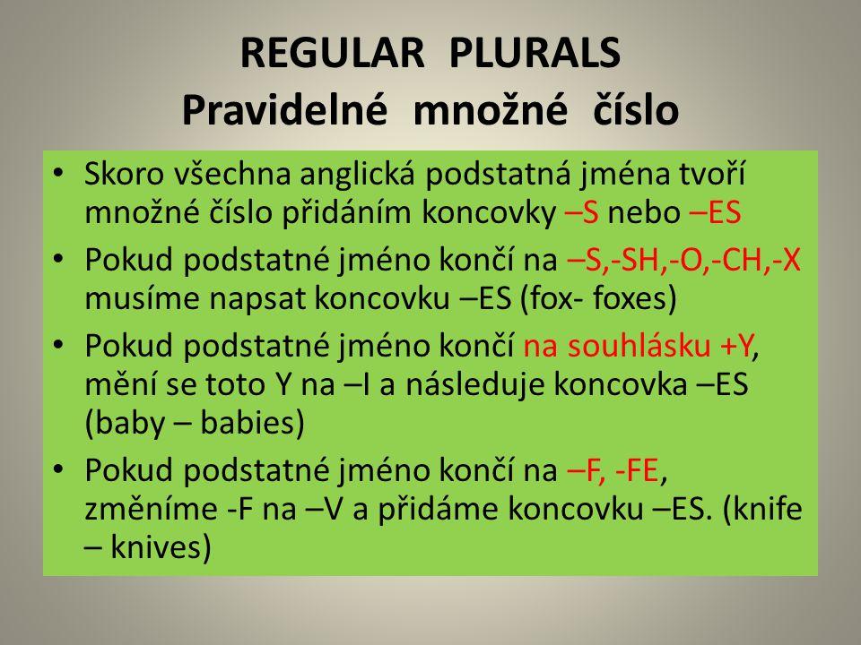 REGULAR PLURALS Pravidelné množné číslo Skoro všechna anglická podstatná jména tvoří množné číslo přidáním koncovky –S nebo –ES Pokud podstatné jméno končí na –S,-SH,-O,-CH,-X musíme napsat koncovku –ES (fox- foxes) Pokud podstatné jméno končí na souhlásku +Y, mění se toto Y na –I a následuje koncovka –ES (baby – babies) Pokud podstatné jméno končí na –F, -FE, změníme -F na –V a přidáme koncovku –ES.