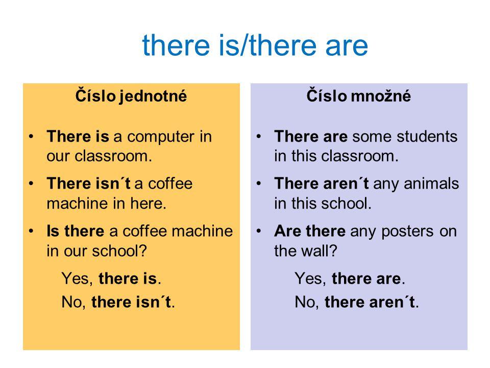 Použití Vazbu there is/there are používáme, když o něčem poprvé říkáme, že to někde je (ve smyslu existuje, je to k mání apod.).