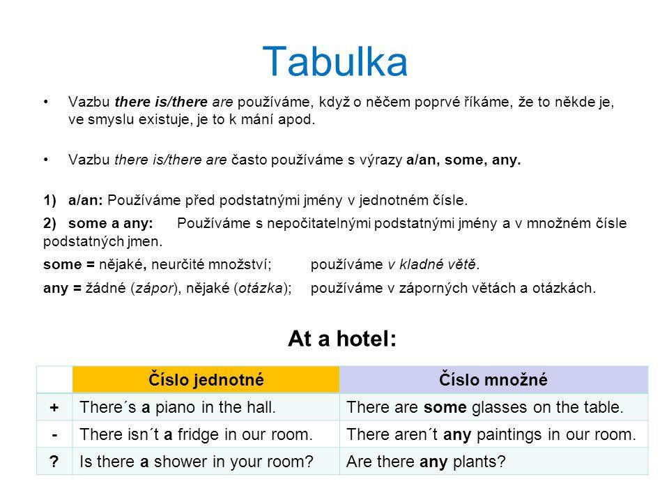 Tabulka Vazbu there is/there are používáme, když o něčem poprvé říkáme, že to někde je, ve smyslu existuje, je to k mání apod. Vazbu there is/there ar