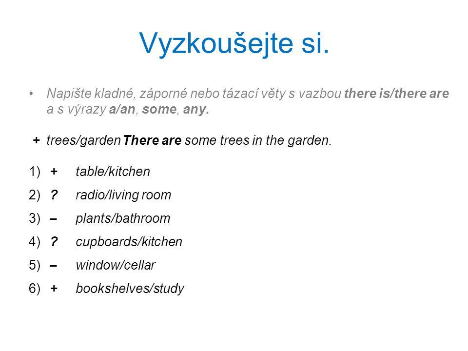 Vyzkoušejte si. Napište kladné, záporné nebo tázací věty s vazbou there is/there are a s výrazy a/an, some, any. +trees/gardenThere are some trees in