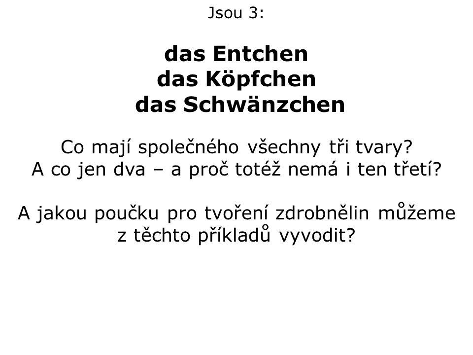 Jsou 3: das Entchen das Köpfchen das Schwänzchen Co mají společného všechny tři tvary.