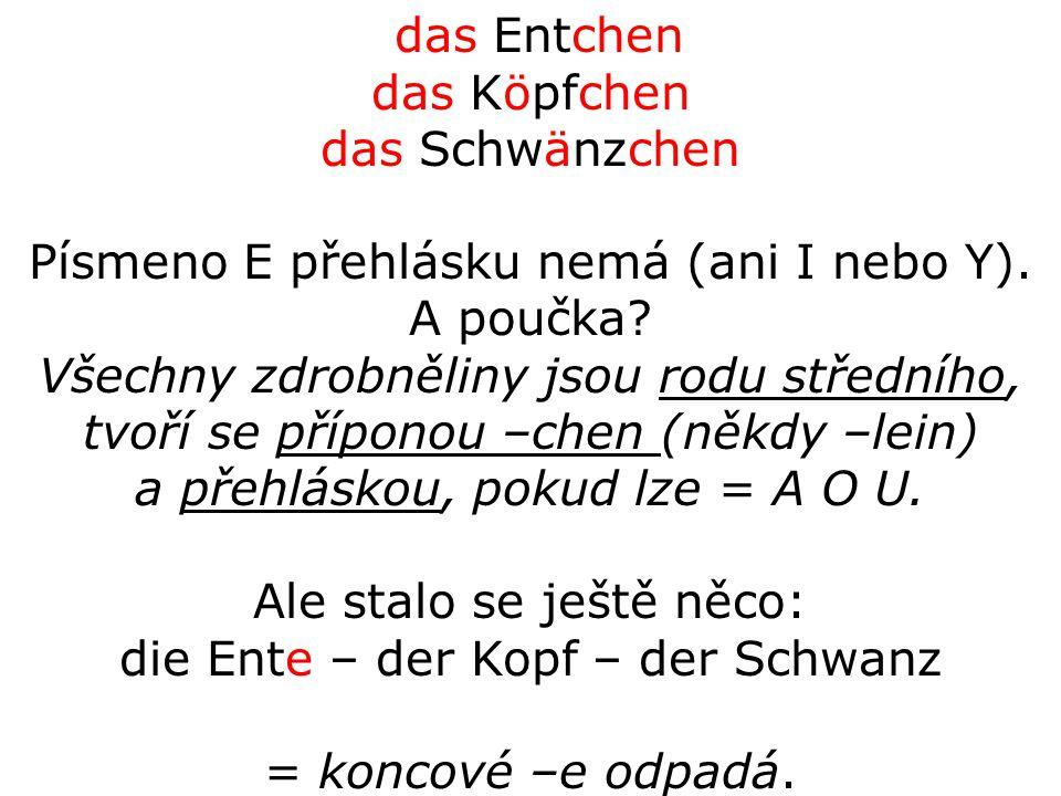 das Entchen das Köpfchen das Schwänzchen Písmeno E přehlásku nemá (ani I nebo Y).