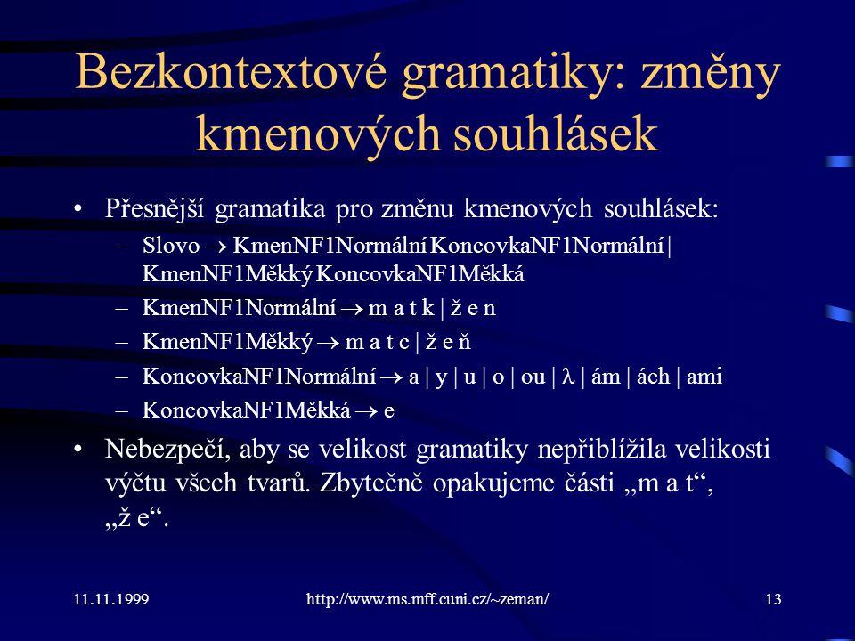 11.11.1999http://www.ms.mff.cuni.cz/~zeman/13 Bezkontextové gramatiky: změny kmenových souhlásek Přesnější gramatika pro změnu kmenových souhlásek: –S