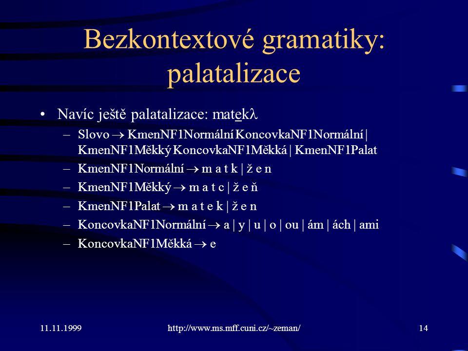 11.11.1999http://www.ms.mff.cuni.cz/~zeman/14 Bezkontextové gramatiky: palatalizace Navíc ještě palatalizace: matek –Slovo  KmenNF1Normální KoncovkaN