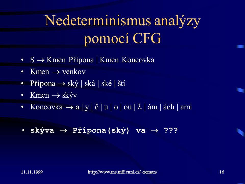 11.11.1999http://www.ms.mff.cuni.cz/~zeman/16 Nedeterminismus analýzy pomocí CFG S  Kmen Přípona | Kmen Koncovka Kmen  venkov Přípona  ský | ská |