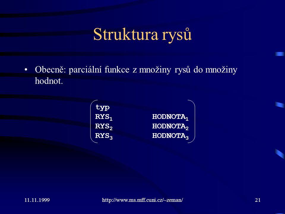 11.11.1999http://www.ms.mff.cuni.cz/~zeman/21 Struktura rysů Obecně: parciální funkce z množiny rysů do množiny hodnot. typ RYS 1 HODNOTA 1 RYS 2 HODN