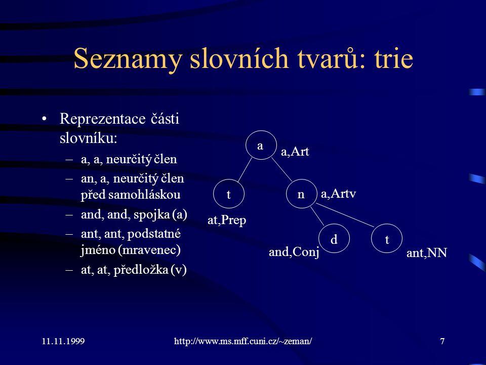 11.11.1999http://www.ms.mff.cuni.cz/~zeman/7 Seznamy slovních tvarů: trie Reprezentace části slovníku: –a, a, neurčitý člen –an, a, neurčitý člen před