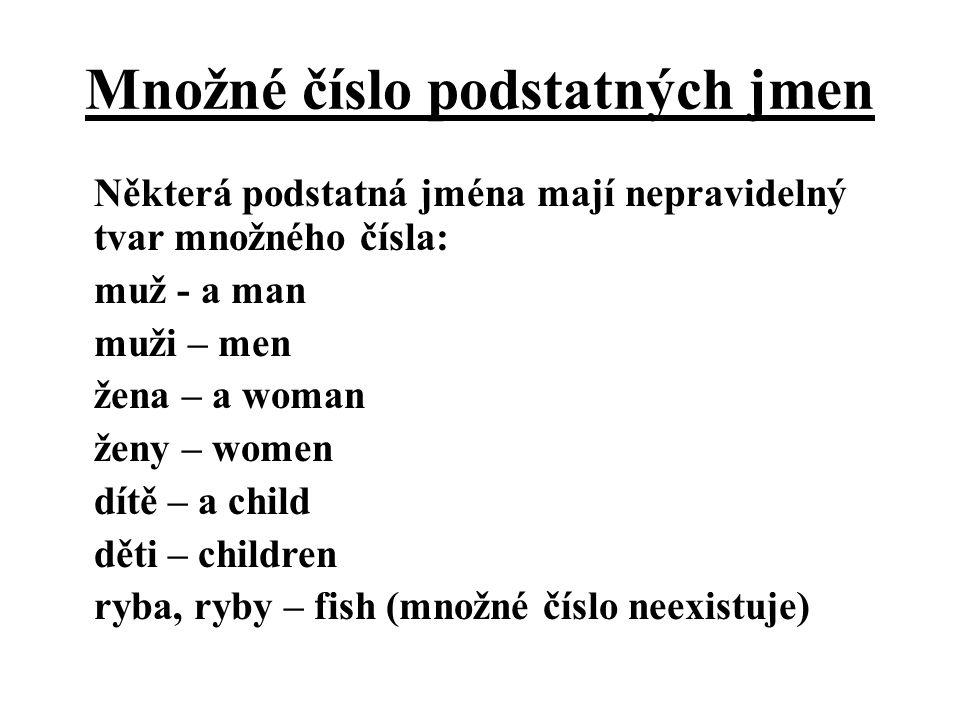 Množné číslo podstatných jmen Některá podstatná jména mají nepravidelný tvar množného čísla: muž - a man muži – men žena – a woman ženy – women dítě – a child děti – children ryba, ryby – fish (množné číslo neexistuje)