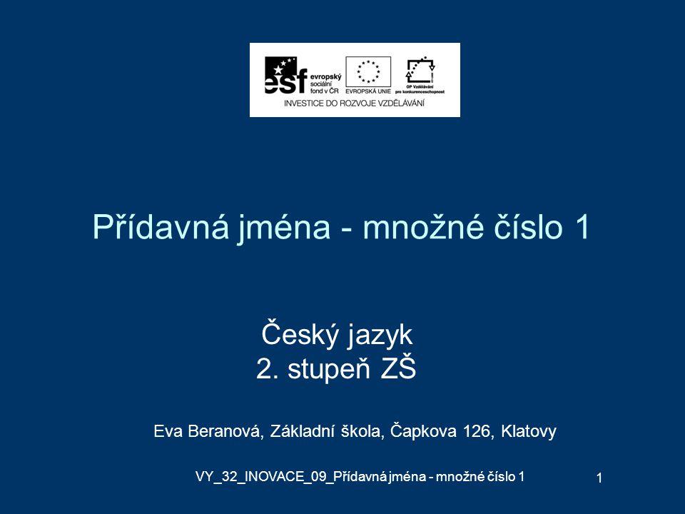 Přídavná jména - množné číslo 1 Český jazyk 2.
